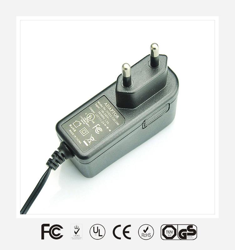 12V1A欧规立式优质电源适配器